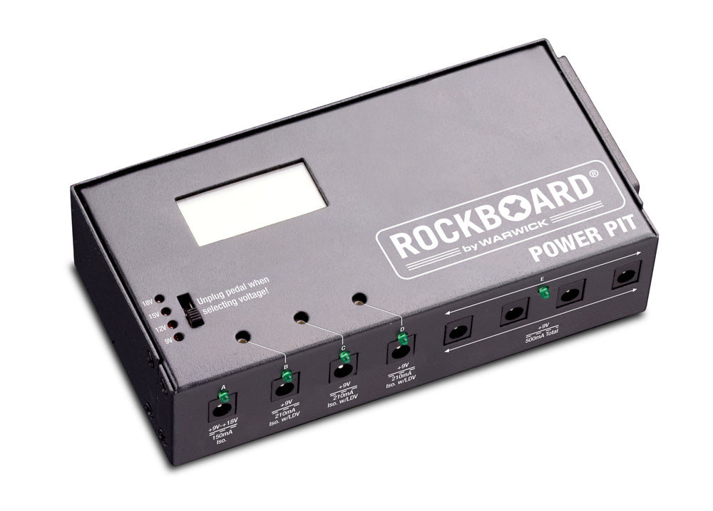 RockBoard Power Pit, 4-ISO and 4-9V Outputs, Screen Equipped Adjustable Voltage