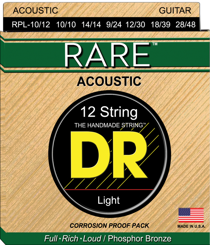DR Rare Phosphor Bronze 12 String Acoustic Guitar Strings, 10/10-48/28