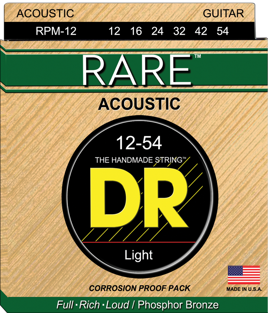 DR Rare Phosphor Bronze Acoustic Guitar Strings, Light 12-54