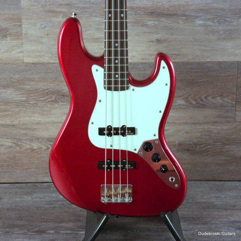 Vintage VJ74 Reissue Bass Guitar, Alder Body, Hard Maple Neck, Candy Apple Red - Dudebroski Guitars