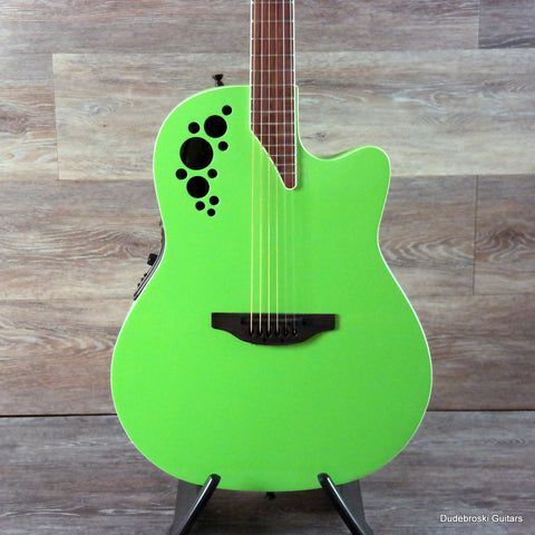 1. Ovation Elite Series 1868TX, Shallow Bowl and Ergonomically Designed, Slime Green - Dudebroski Guitars