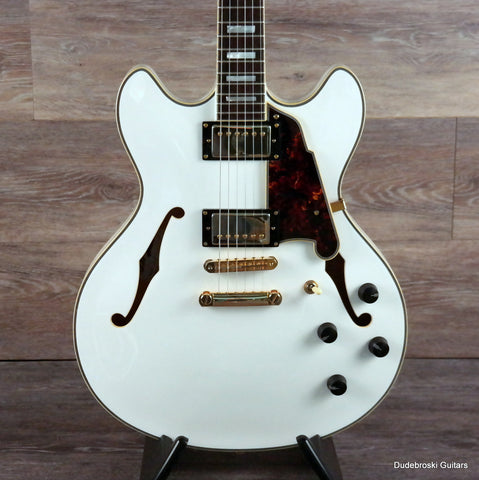 1. D'Angelico Excel DC Stop-Bar, Double-Cutaway Semi-Hollow Guitar - Vintage White - Dudebroski Guitars