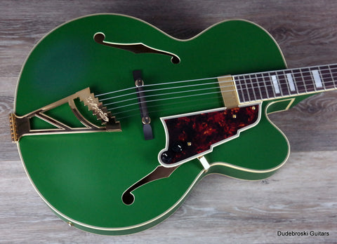 1. D'Angelico Deluxe Series EXL-1 Hollowbody, Limited Edition Color Matte Emerald - Dudebroski Guitars