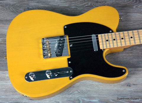1. Vintage V52 Reissued, a 50's Inspired T-Style Electric Guitar, Butterscotch - Dudebroski Guitars