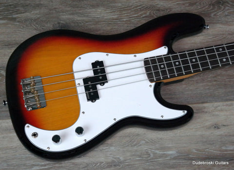 Vintage Reissue V4 Bass Guitar, Alder Body, Hard Maple Neck, Sunset Sunburst - Dudebroski Guitars