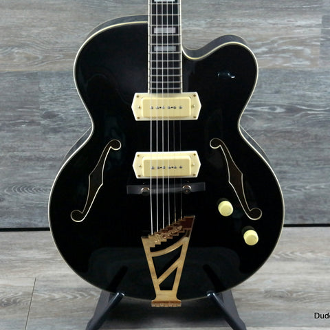 D'Angelico Excel Series EX59 Hollowbody Electric Guitar, Stairstep Tailpiece, Gloss Black - Dudebroski Guitars