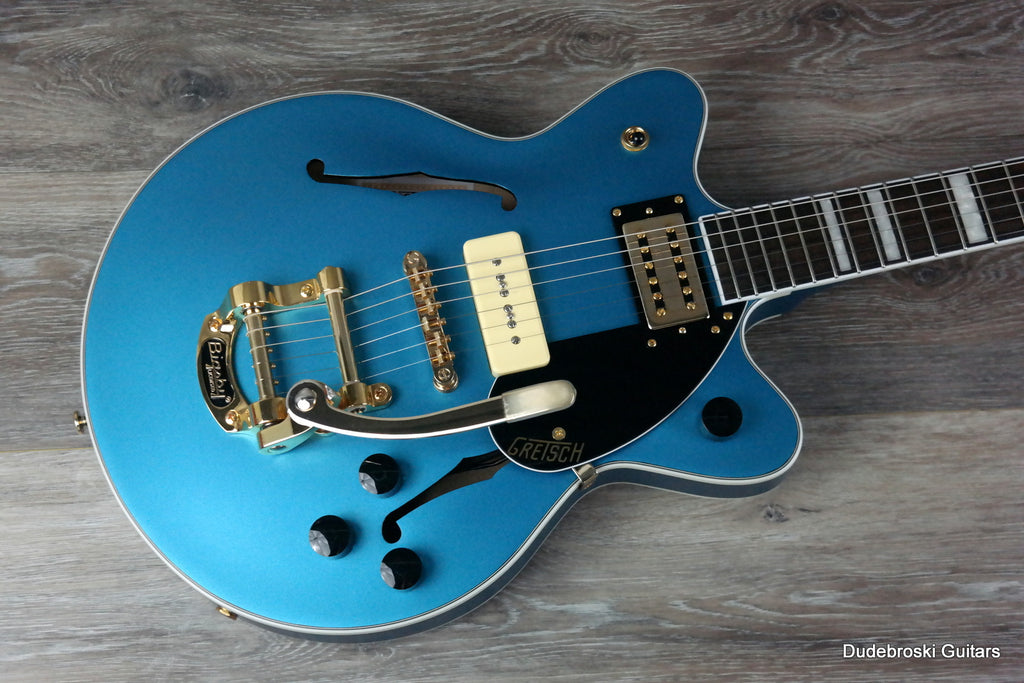 1. Gretsch G2655TG-P90 Streamliner Center Block Jr. P90, Bigsby LE Semi-Hollow, Riviera Blue