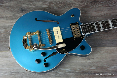 1. Gretsch G2655TG-P90 Streamliner Center Block Jr. P90, Bigsby LE Semi-Hollow, Riviera Blue - Dudebroski Guitars