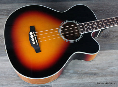 Takamine GB72CE Jumbo Acoustic Electric Bass - Sunburst - Dudebroski Guitars