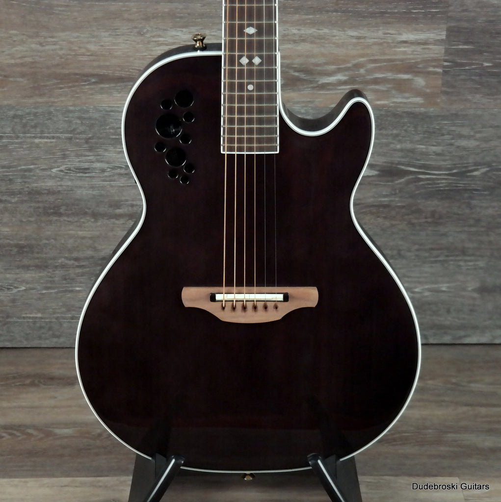 Ovation Viper Sapele Chambered Acoustic Electric Guitar, Trans Black with Gigbag