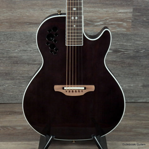 Ovation Viper Sapele Chambered Acoustic Electric Guitar, Trans Black with Gigbag - Dudebroski Guitars