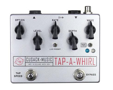 Cusack Tap-A-Whirl, Smooth Tremolo effect with Tap-Tempo, Stereo Out - Dudebroski Guitars