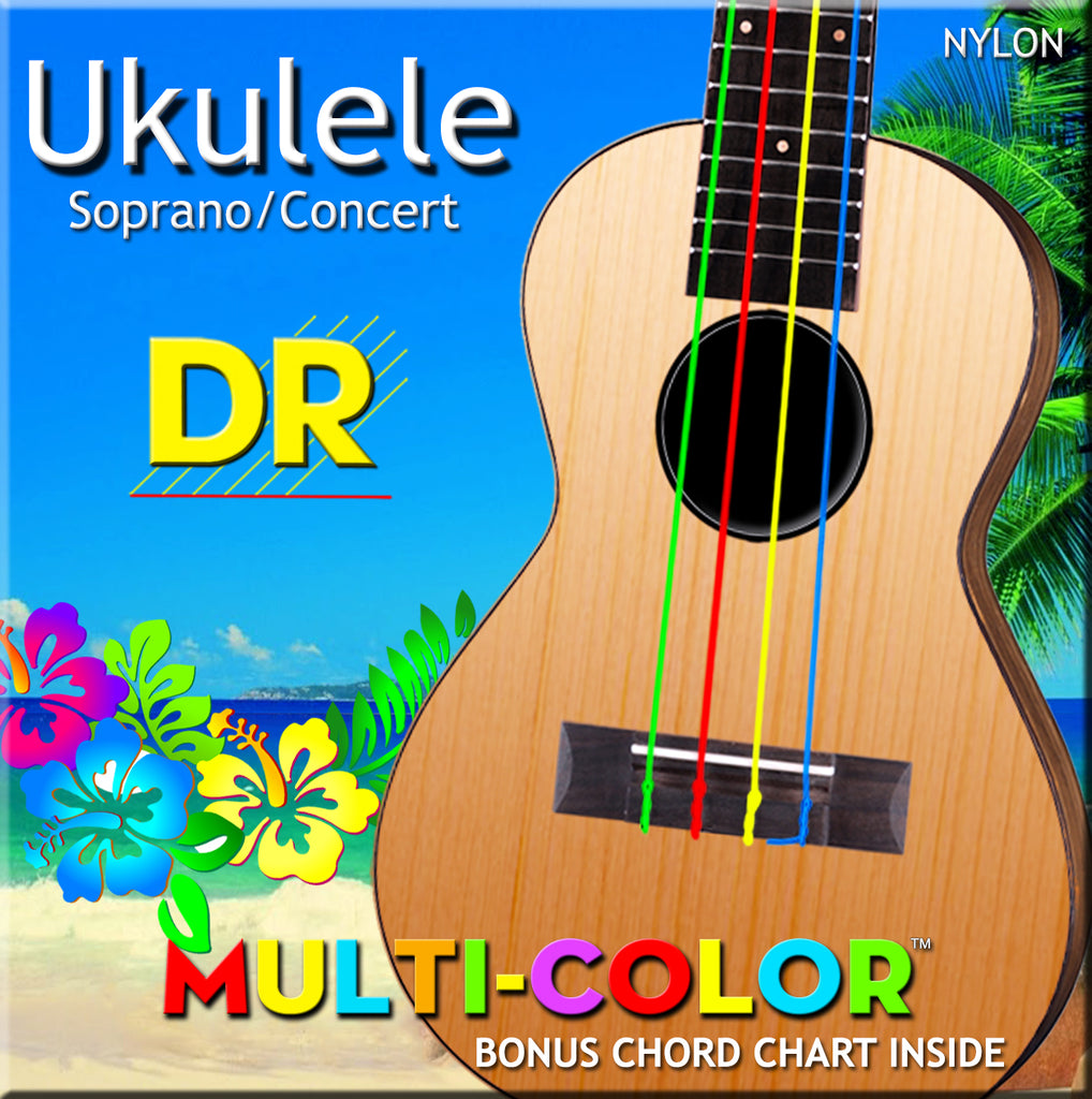 DR Multi-Color Ukulele Nylon Strings, Soprano/Concert, Bonus Chord Chart Inside