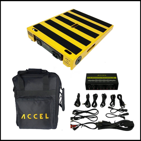 "Accel XTA10 Pro Pedal Board Combo (Yellow) with Power Supply Plus Gig Bag, 10.5"" x 13"" - Dudebroski Guitars"