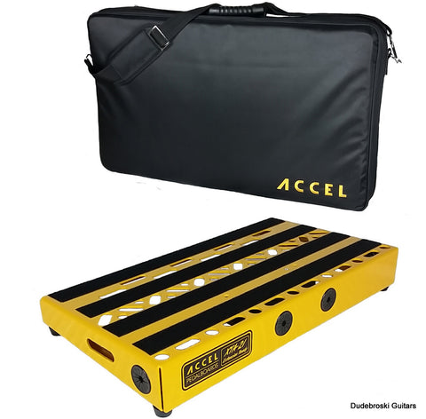 Accel XTA21 Guitar Pedal Board, Lightweight and Rugged Modular Design - Yellow - Dudebroski Guitars