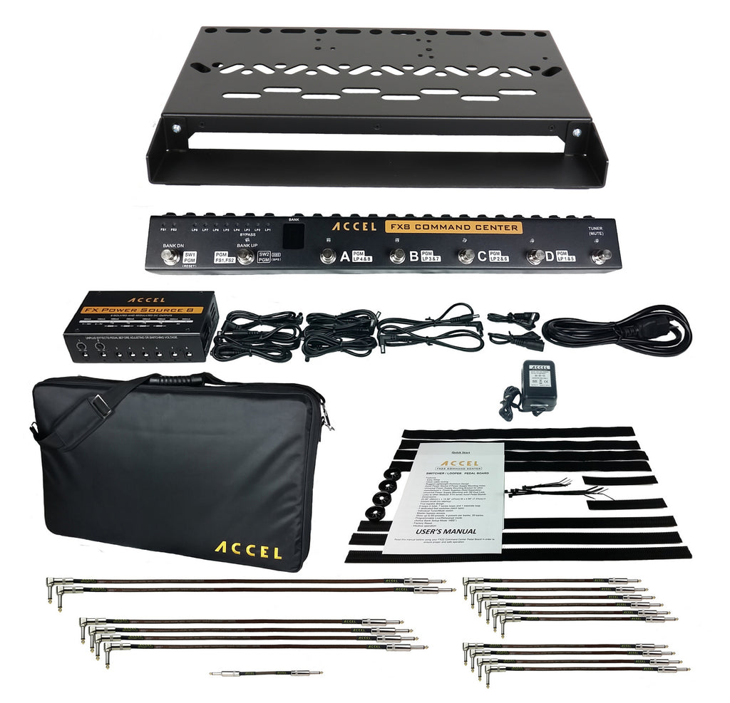 Accel XTA 21 Guitar Pedalboard Bundle, Switcher, Power Supply, Cables and More - Black