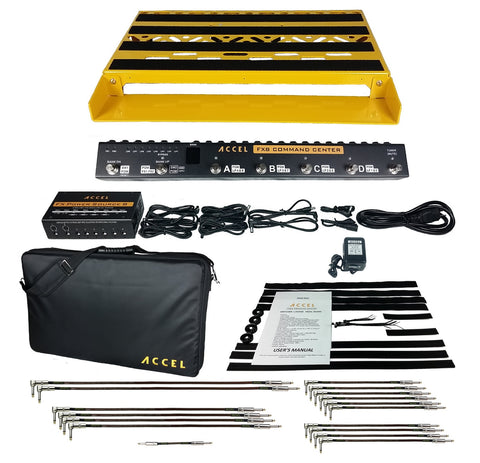 Accel XTA 21 Guitar Pedalboard Bundle, Switcher, Power Supply, Cables and More - Yellow - Dudebroski Guitars