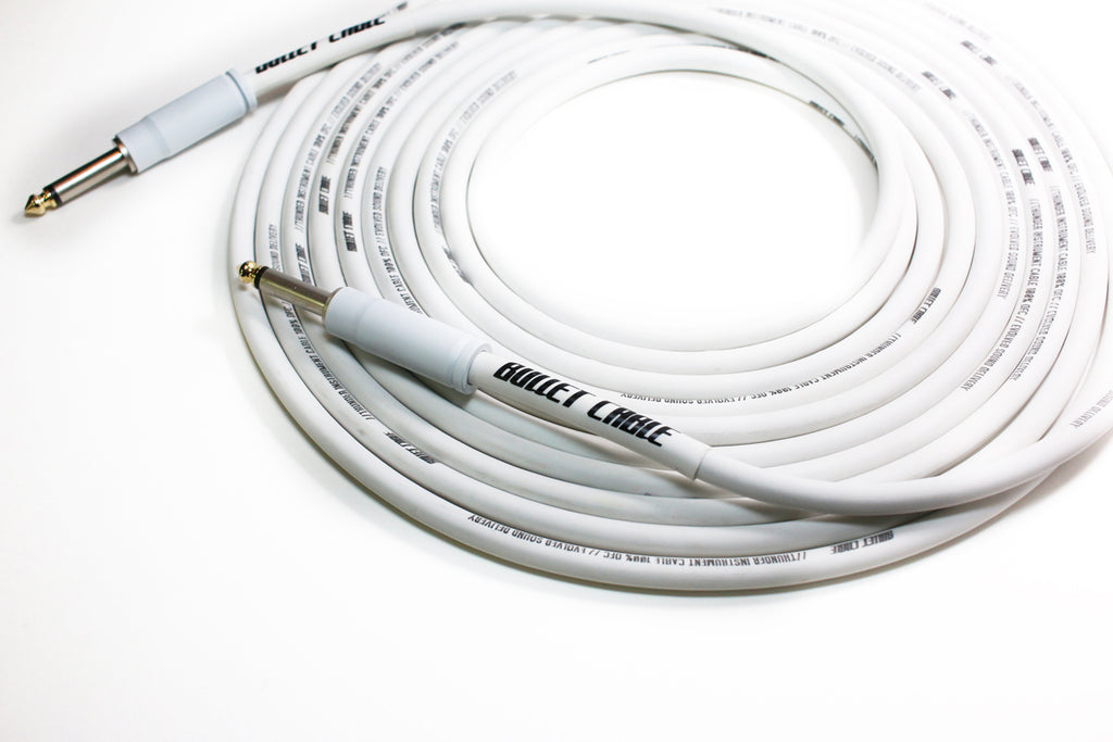 Bullet White 20' Thunder Straight Cable, Dynamic Tone, Rich Harmonics, Fierce Attack
