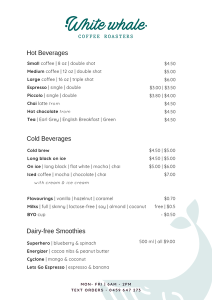 Beverage Menu | White Whale Coffee Roasters | Cairns