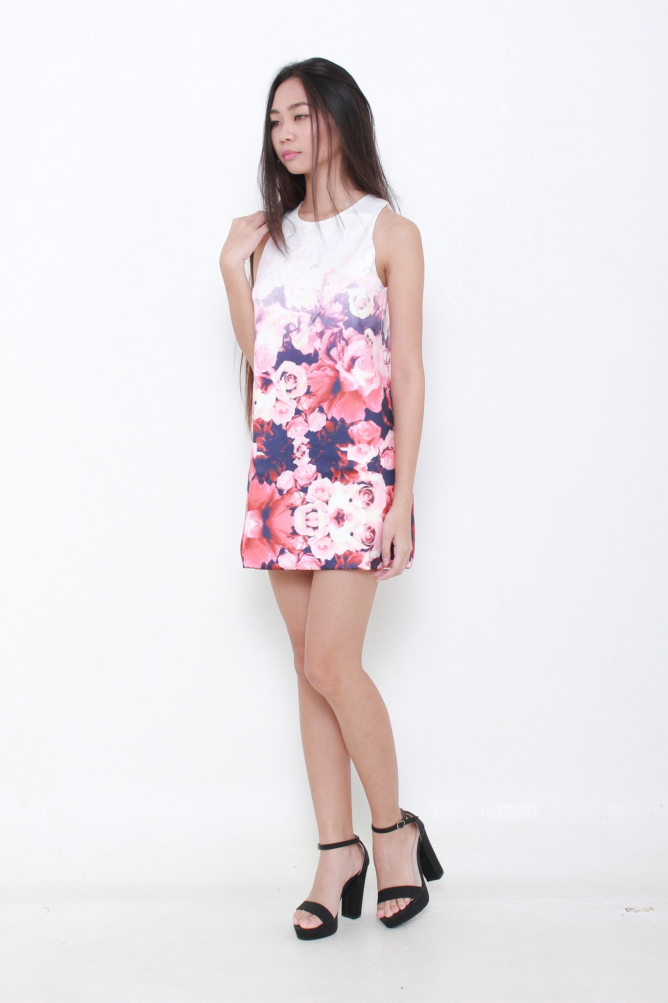 Ombre Rose Shift Dress - Holographic Daisies