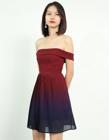 OMBRE OFF THE SHOULDER PLEAT DRESS