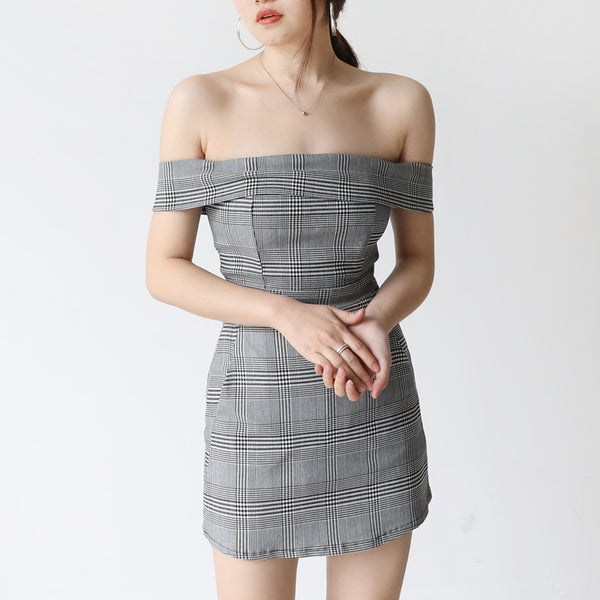 SULLY CHECK OFF SHOULDER ROMPER