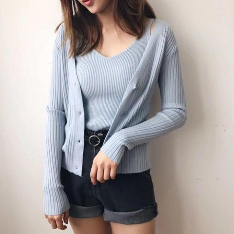 CAMISOLE CARDIGAN KNIT SET