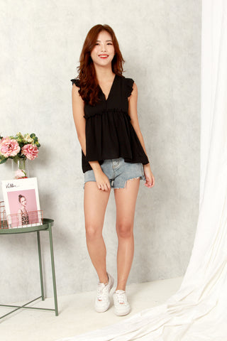 CASTELL RUFFLES TOP (BLACK)