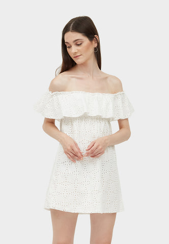 DANA OFF THE SHOULDER EYELET DRESS