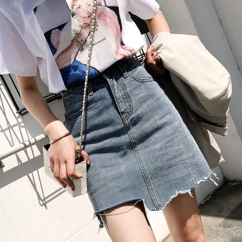 DELORIA UNEVEN DENIM SKIRT
