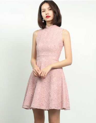 FAYTH MANDARIN COLLAR LACE DRESS