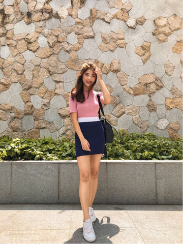 KRYSTAL COLOURBLOCK KNIT DRESS