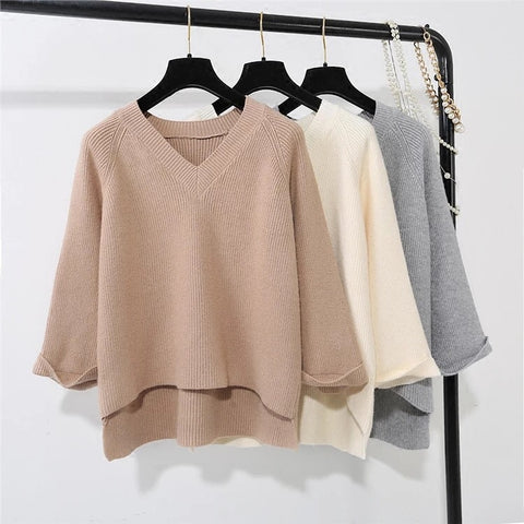 CUFF SLEEVE KNIT V-NECK SWEATER