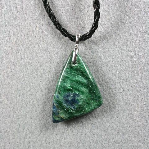 Fuchsite iridescent with Kyanite two sides pendant