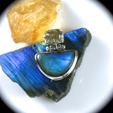 Spectrolite Pendant with inlaid bail - Rusmineral cabochons&jewelry - 2