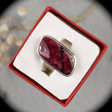 Eudialyte iridescent sterling silver ring
