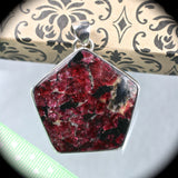 Eudialyte sterling silver pendant - Rusmineral cabochons&jewelry - 4