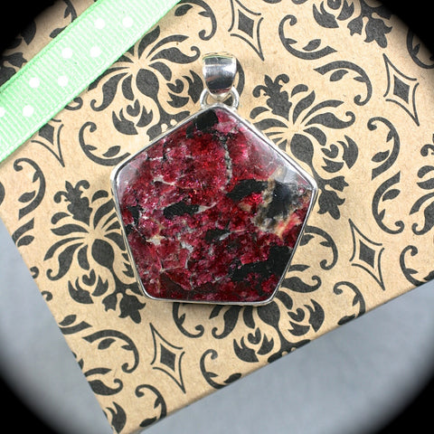 Eudialyte sterling silver pendant - Rusmineral cabochons&jewelry - 1
