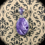 Charoite sterling silver pendant w/inlaid bail - Rusmineral cabochons&jewelry - 1