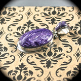 Charoite sterling silver pendant w/inlaid bail - Rusmineral cabochons&jewelry - 3