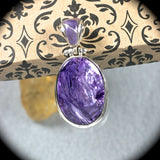 Charoite sterling silver pendant w/inlaid bail - Rusmineral cabochons&jewelry - 2