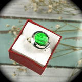 Ammolite sterling silver ring