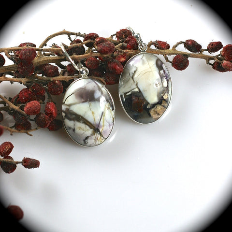 Tiffany Stone/Bertrandite sterling silver earrings