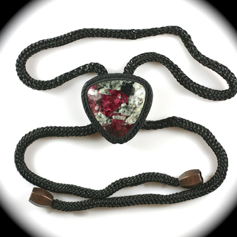 Eudialyte and leather bolo tie for men
