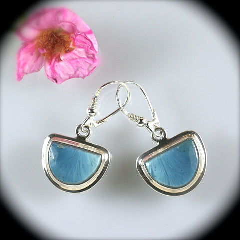 Swedish Blue sterling silver earrings - Rusmineral cabochons&jewelry - 1