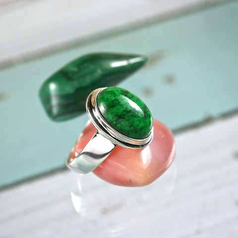 Jadeite sterling silver ring - Rusmineral cabochons&jewelry