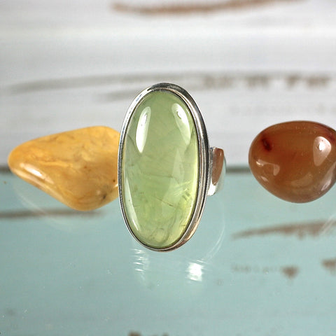 Prehnite sterling silver ring - Rusmineral cabochons&jewelry - 1