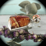 Red Creek Jasper sterling silver pendant with inlaid bail