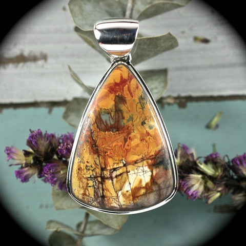 Red Creek Jasper sterling silver pendant