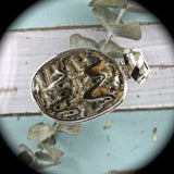 Ammonite Pyrite Drusy pendant with inlaid bail